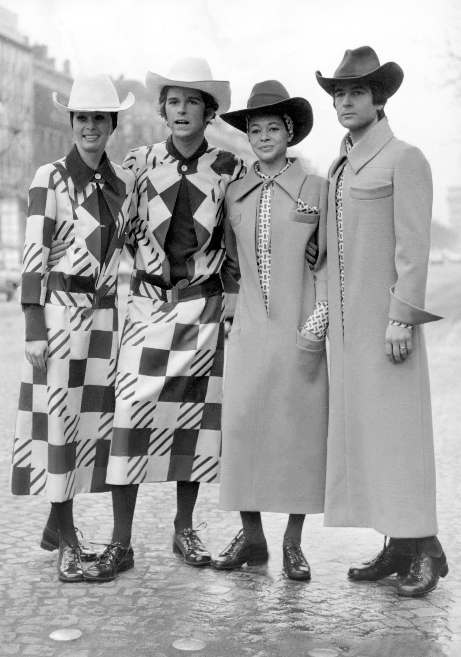 Paris, Two Couples In Sumerian Dressing Created By Jacques Esterel In January 1970.