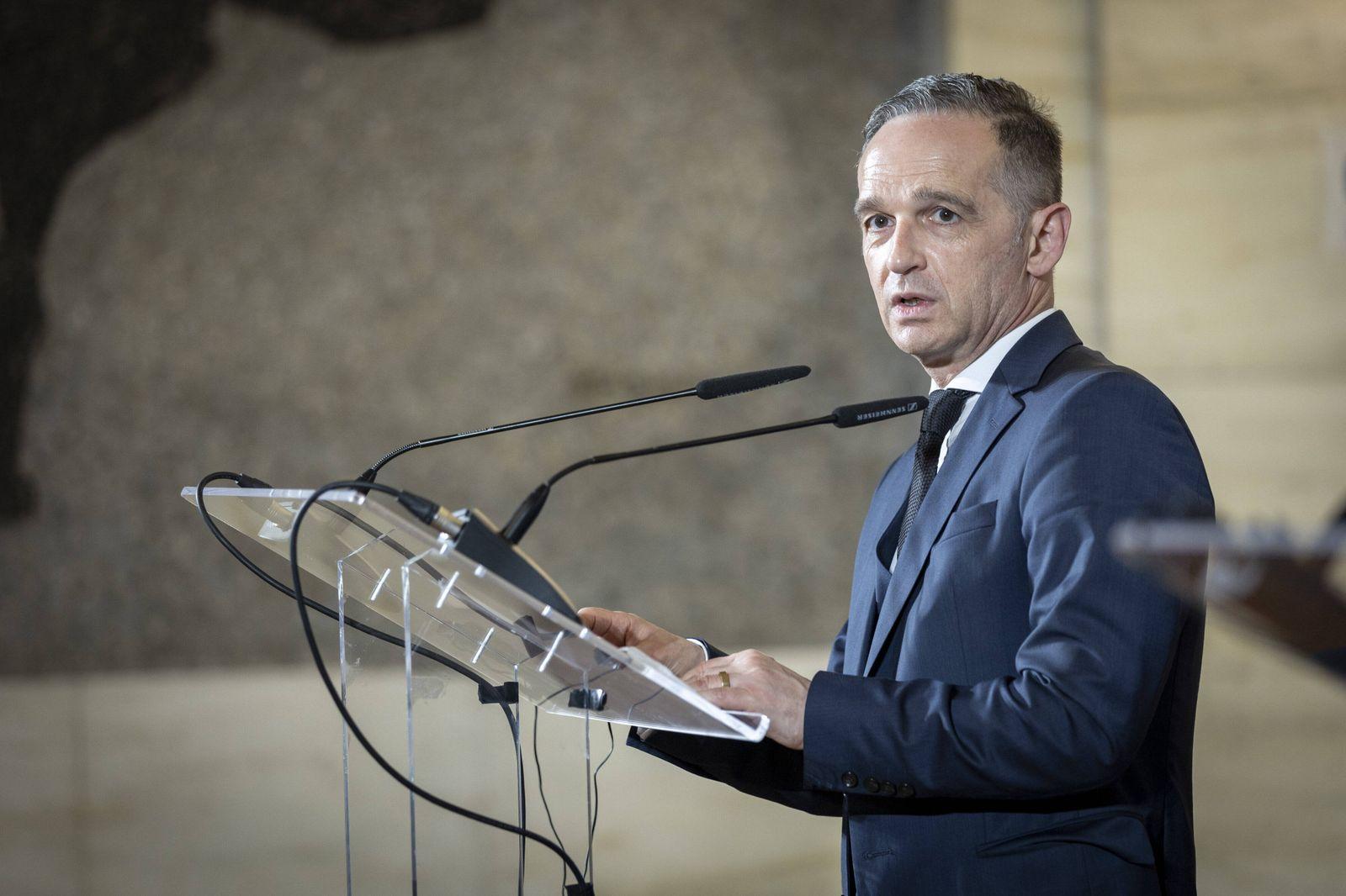 Bundesaussenminister Heiko Maas, SPD, aufgenommen bei einem gemeinsamen Pressestatement mit Luigi Di_Maio, Aussenminist