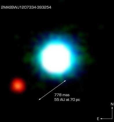 Eso-Foto von 2M1207 und dem mutmaßlichen Planeten: Hoffnung für die Jäger der zweiten Erde