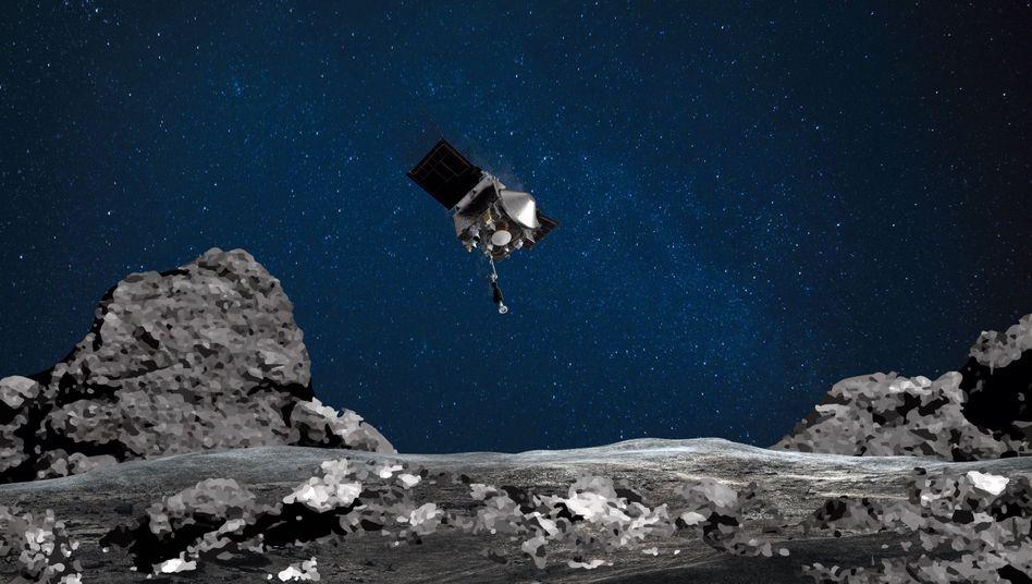 """Nasa-Sonde """"Osiris Rex"""" über dem Asteroiden Bennu (Fotomontage)"""