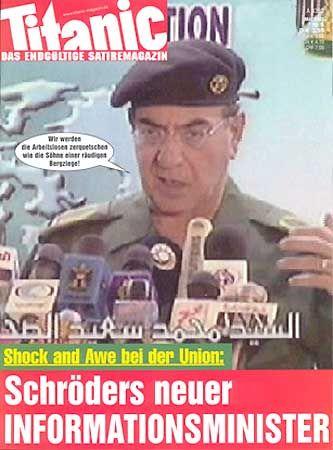 "Satire-Star: Al-Sahhaf auf dem ""Titanic""-Cover"