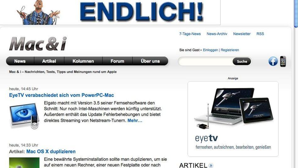 """Web-Seite zur Zeitschrift """"Mac & i"""": Aktuelles lieber im Web statt auf Papier"""
