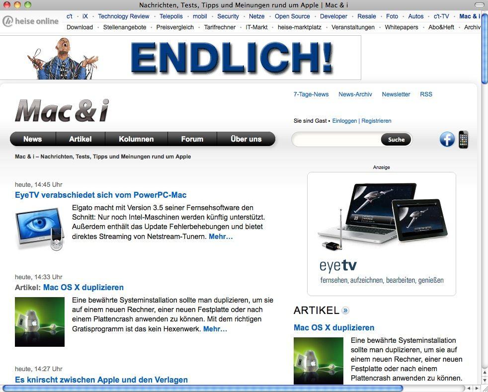 SCREENSHOT Heise Online / Netzwelt