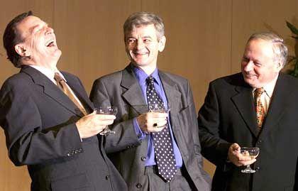 """Wahlsieger Schröder, Fischer und Lafontaine (1998): """"Ein deutscher Haider"""""""