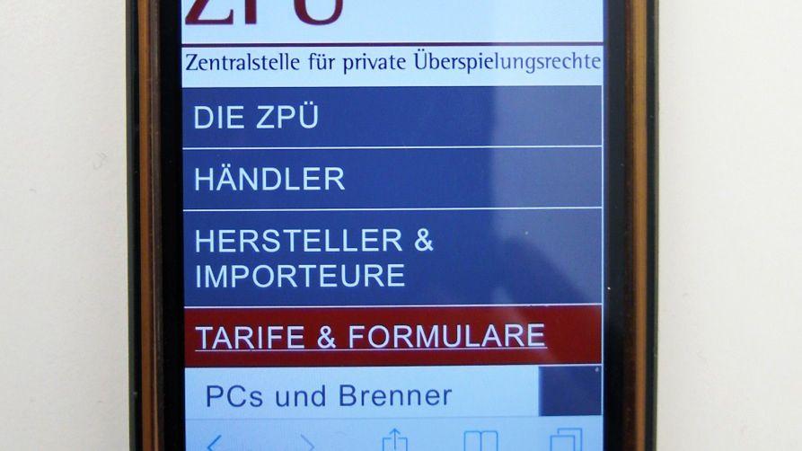 Smartphone, ZPÜ-Website: 36 Euro ab 8 GB, 16 Euro darunter?