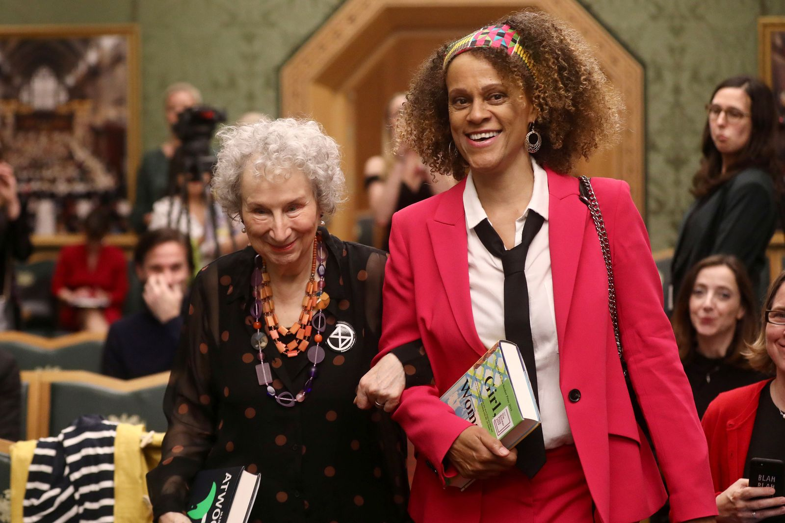 Margaret Atwood and Bernardine Evaristo jointly win the Booker Prize for Fiction 2019 at the Guildhall in London