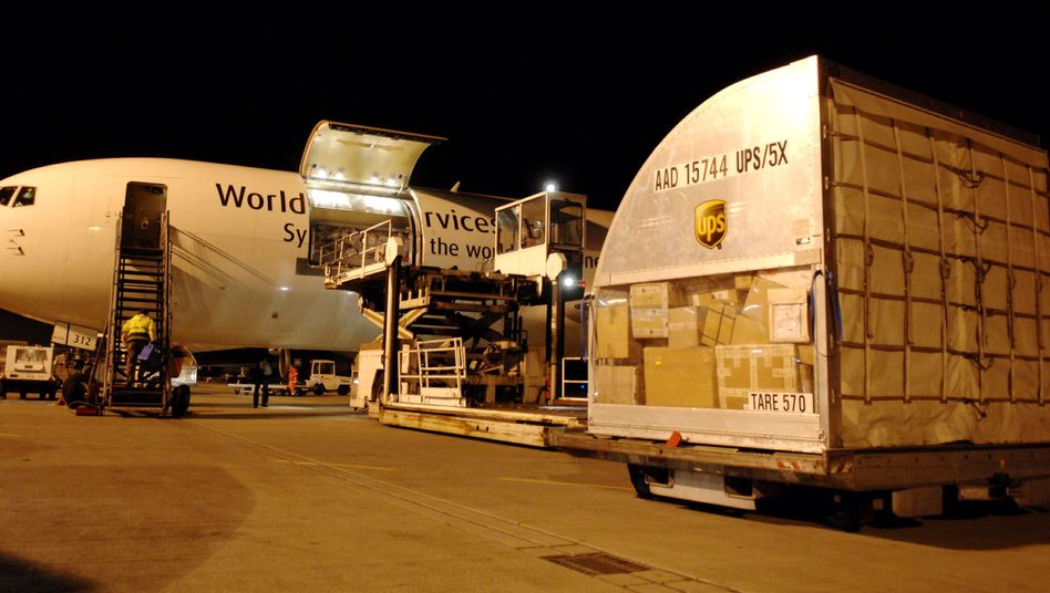 A UPS cargo plane at Cologne Bonn airport.