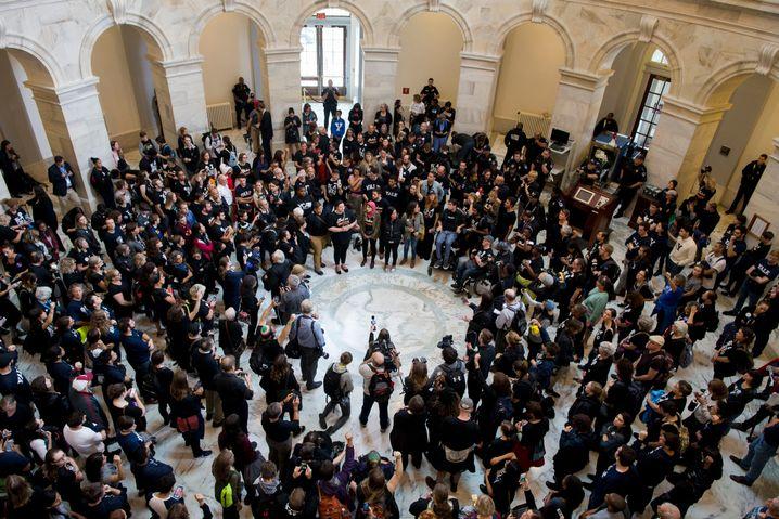 Proteste im Hart Senate Office Building des US-Senats