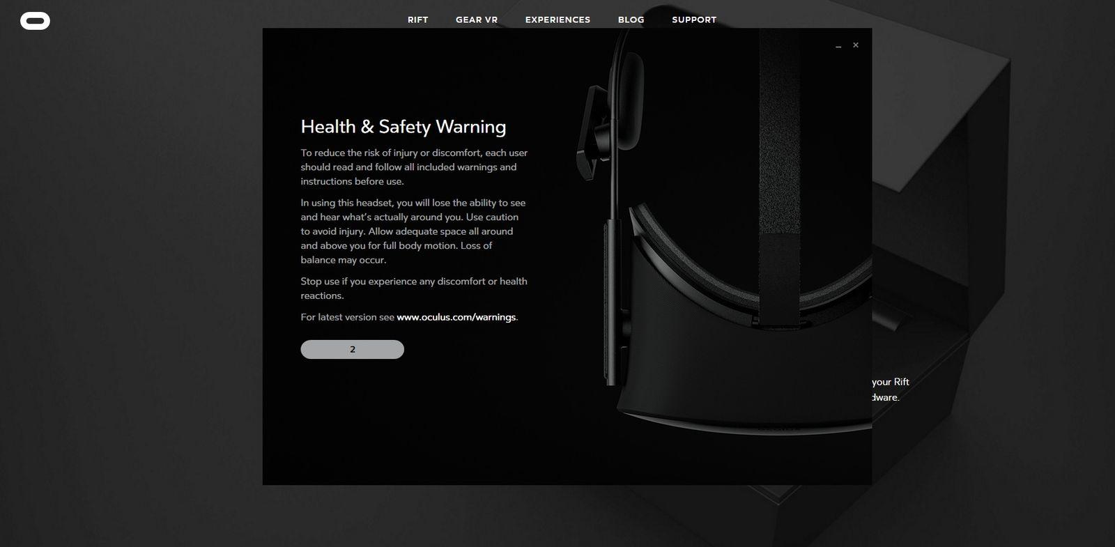 EINMALIGE VERWENDUNG NUR ALS ZITAT Screenshot/ VR Games/ Oculus Health Warning