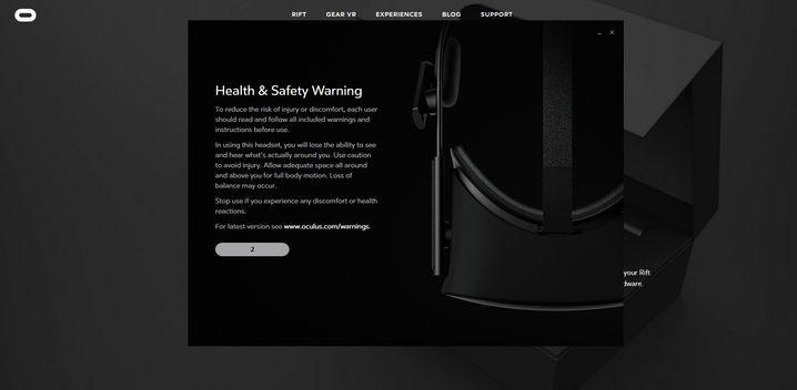 Warnung beim Einrichten der Oculus Rift