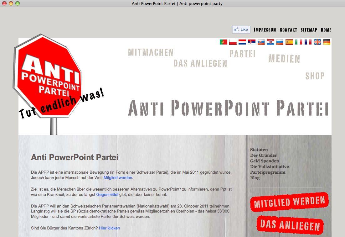 EINMALIGE VERWENDUNG Anti-Powerpoint-Partei NETZWELT SCREENSHOT