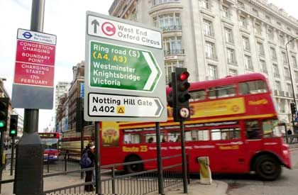 """Since London imposed its """"Congestion Charge"""" on drivers in the city's center, daily ridership on its double-decker busses has doubled."""