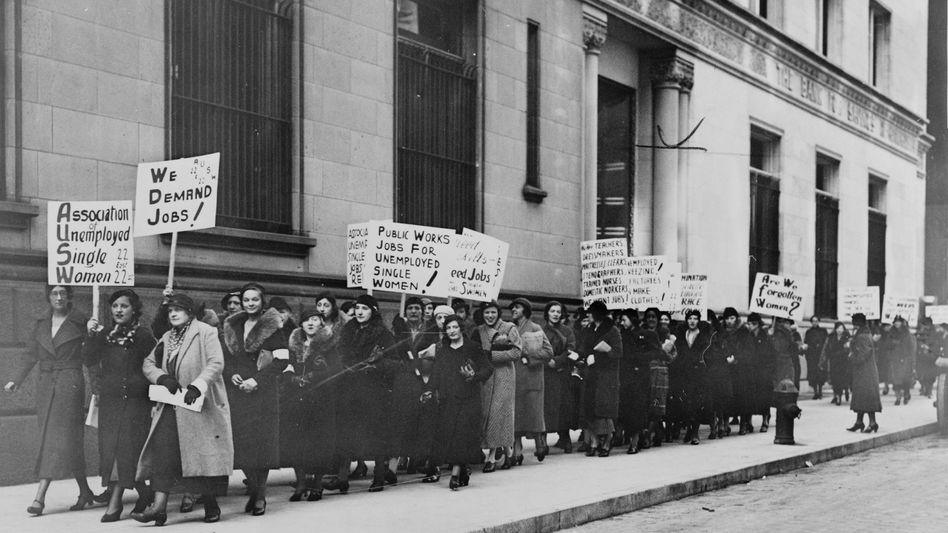 Arbeitslose Frauen in den USA im Jahr 1933