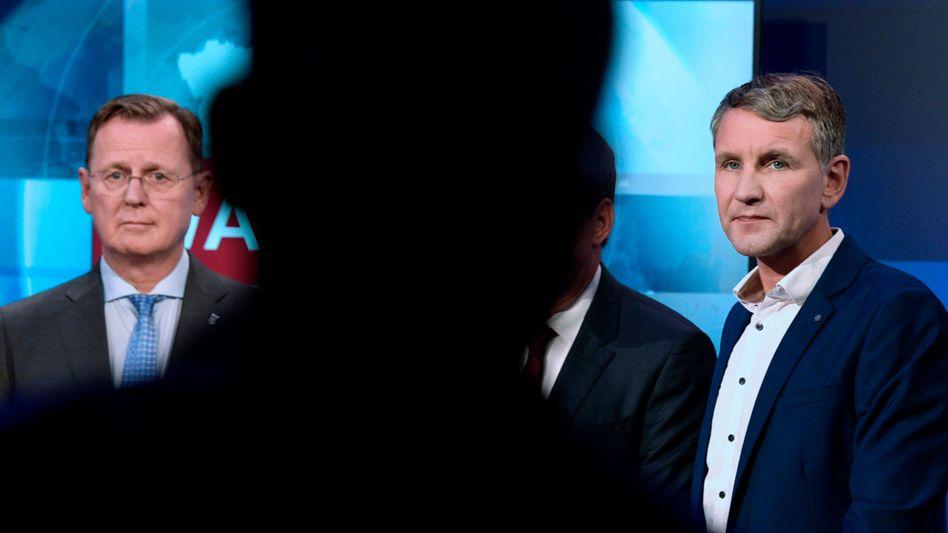 Ramelow, Höcke (während einer TV-Debatte 2019)