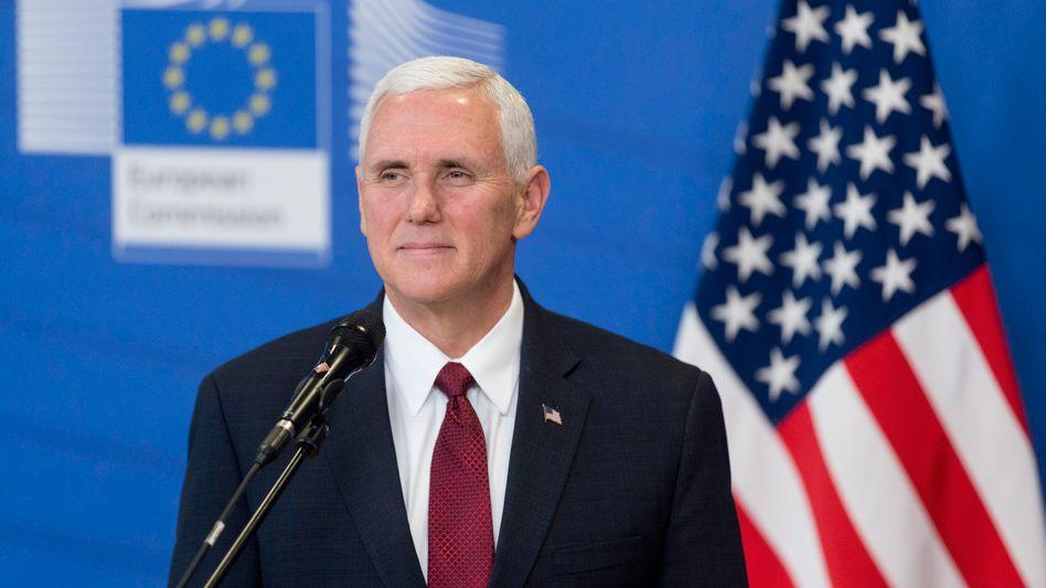 US-Vizepräsident Mike Pence im Europa-Gebäude in Brüssel, 20. Februar 2017