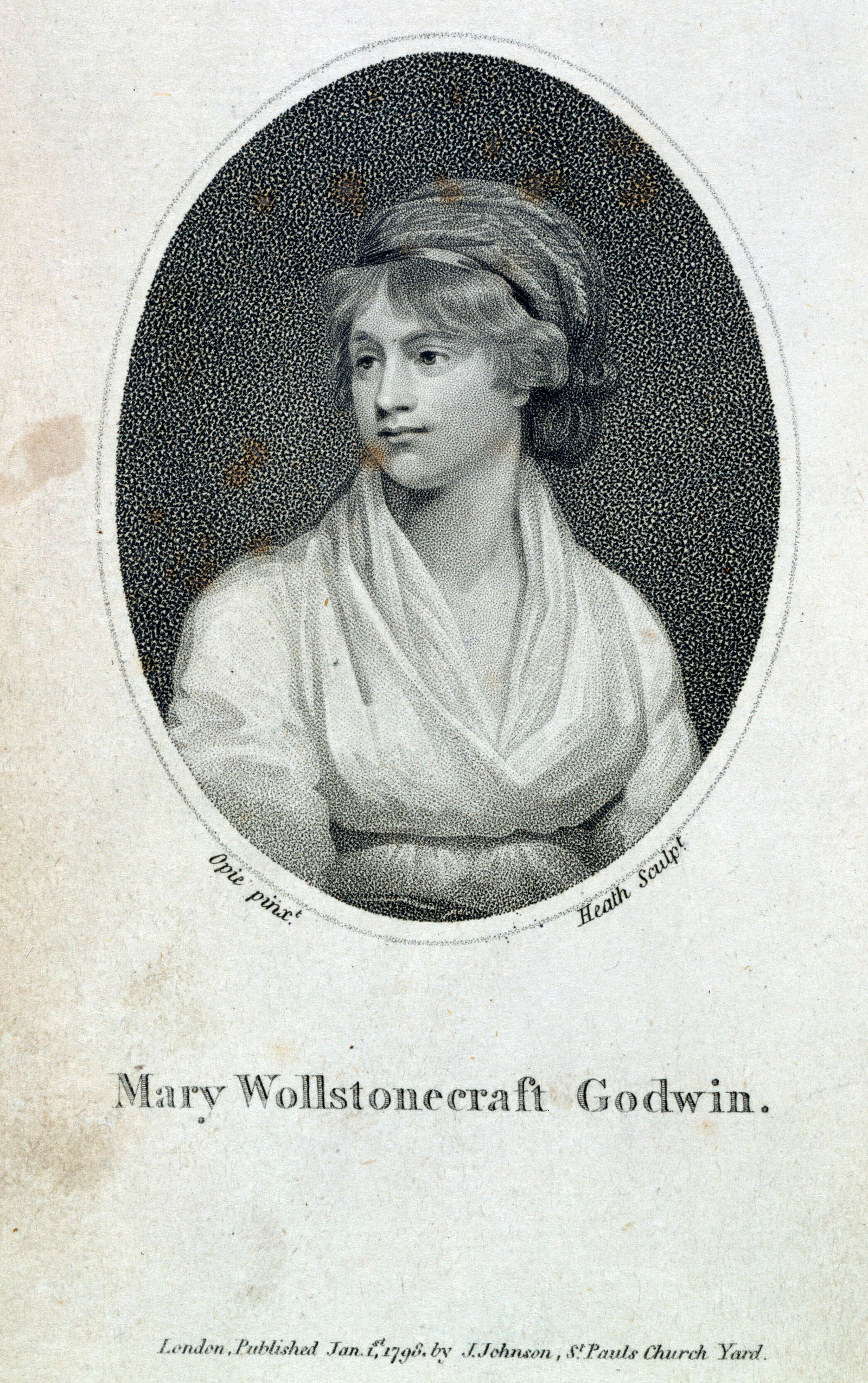 WOLLSTONECRAFT Mary Portrait de Mary Wollstonecraft Godwin (1759-1797) en frontispice de l ouvrage Memoirs of the author