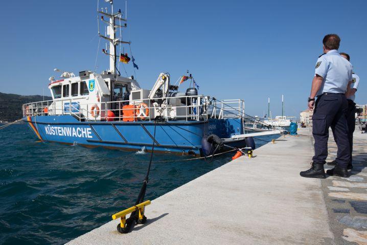 The German coast guard boat Uckermark in port on the Greek isle of Samos