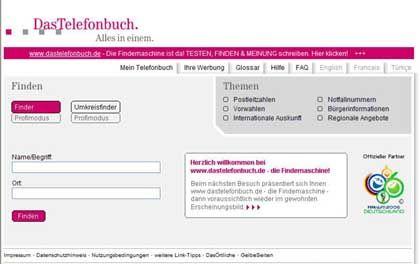 Online-Telefonbuch: Baustelle im Web