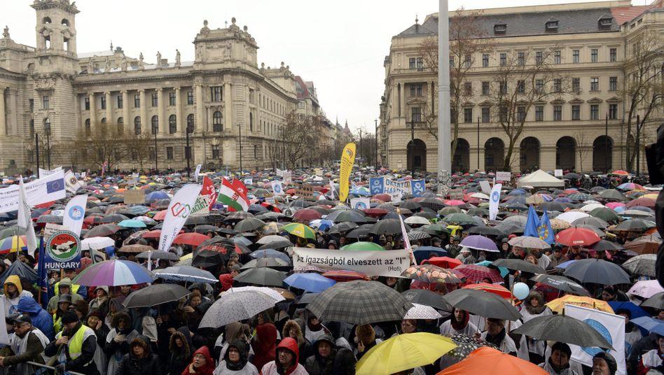 Lehrerdemonstration in Budapest (am 13. Februar)