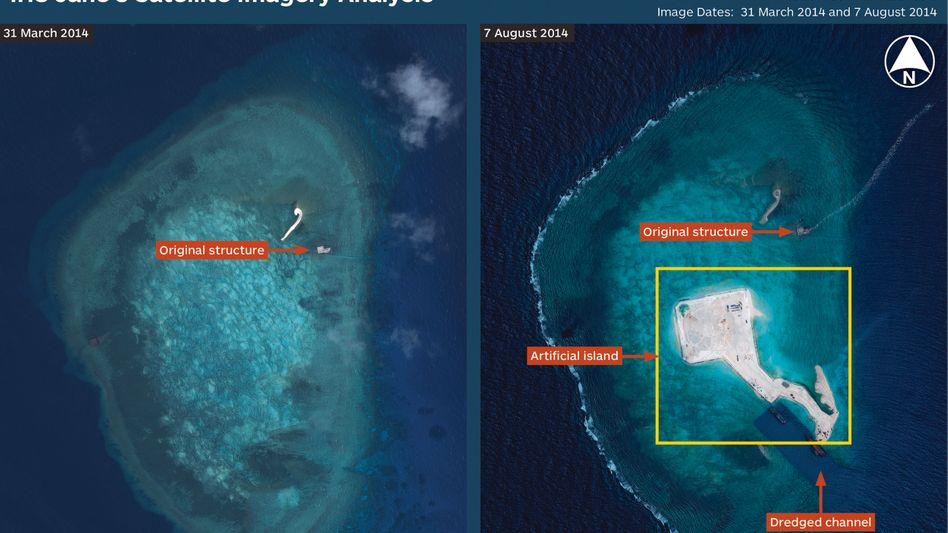 Satellitenbilder vom 31. März und 7. August: China hat an den Gaven-Riffen eine künstliche Insel errichtet