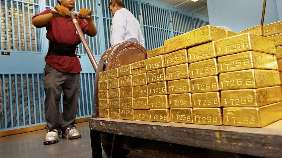 Goldbarren in der US-Notenbank in New York