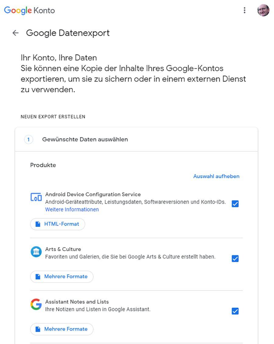 Bei Google Takeout können Nutzer ein Archiv ihrer bei Google gespeicherten Inhalte anfertigen lassen.