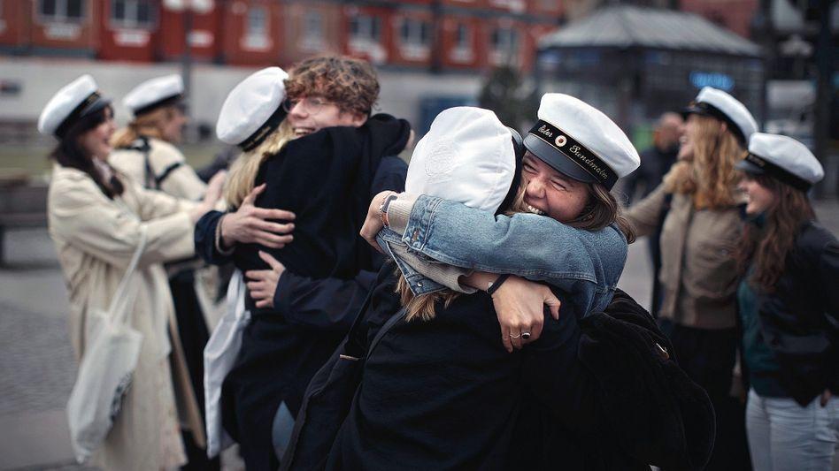 Graduates celebrate in Stockholm in April