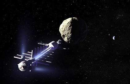 """Asteroiden-Schleppschiff (Zeichnung): """"Schlimmer als alle Naturkatastrophen"""""""