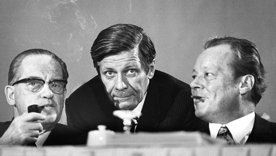 SPD-Politiker Wehner, Schmidt und Brandt