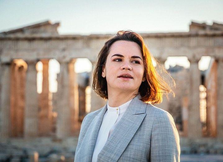 Belarusian opposition leader Svetlana Tikhanovskaya at the Acropolis in Athens