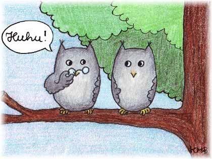 """Ein Uhu sagt """"Huhu"""", zwei Uhue sagen """"Huhue"""""""