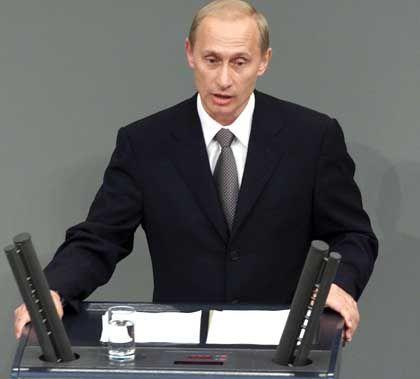 Putin hielt seine Rede im Bundestag weitgehend auf deutsch