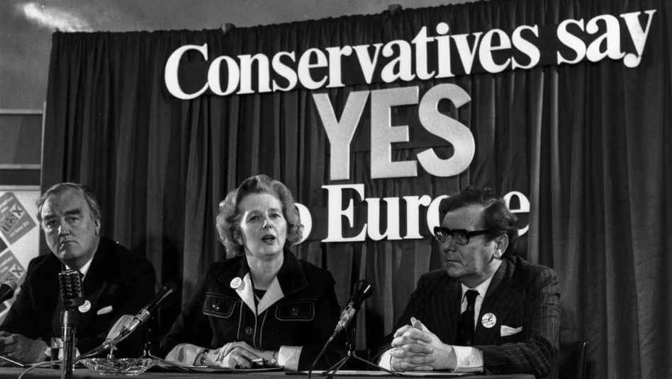 Margaret Thatcher in 1975: Conservatives say yes to Europe