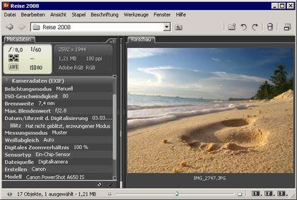 Zeit und Blende: Die Bilddatenbank von Photoshop zeigt hier, mit welchen Kameravorgaben die Aufnahme entstand