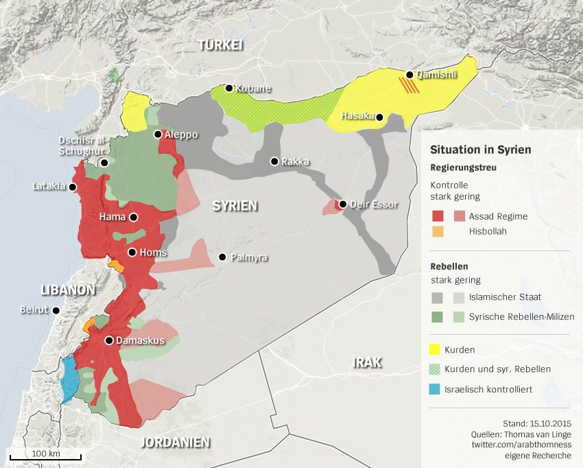 Karte Syrien Situation Stand 15.10.2015