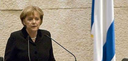 Angela Merkel became the first German chancellor to speak before the Israeli parliament on Tuesday.
