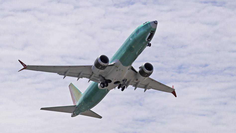 Eine Boeing 737 Max 8 während eines Testflugs im Mai 2019