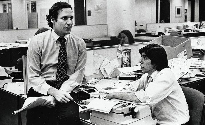 "Journalists Woodward and Carl Bernstein in 1975: ""Nixon was a criminal, and we wrote that."""