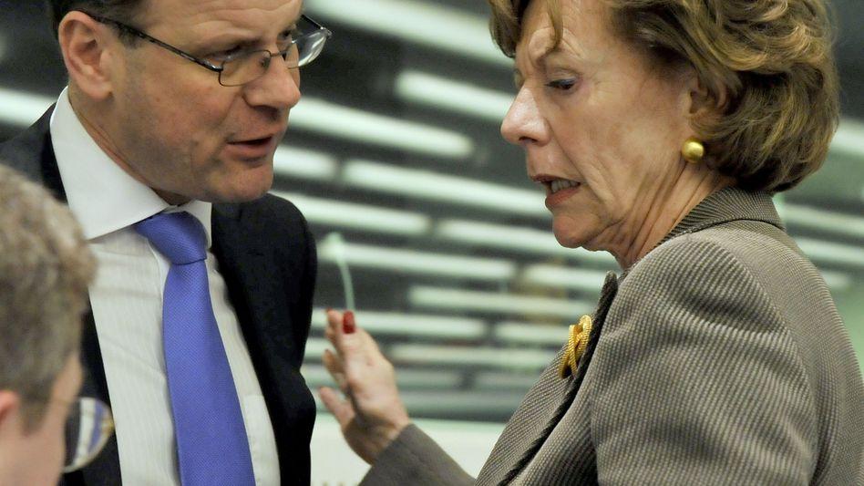 Justizminister Navracsics und EU-Kommissarin Kroes am Montag: Zwei Wochen Zeit