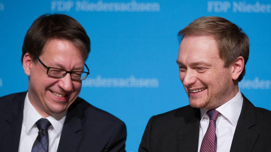 FDP-Politiker Birkner, Lindner (im März): Mehr Zustimmung als die AfD