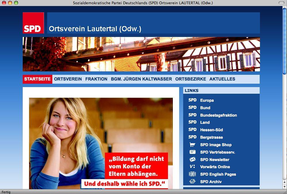 EINMALIGE VERWENDUNG Screenshot SPD Lautertal