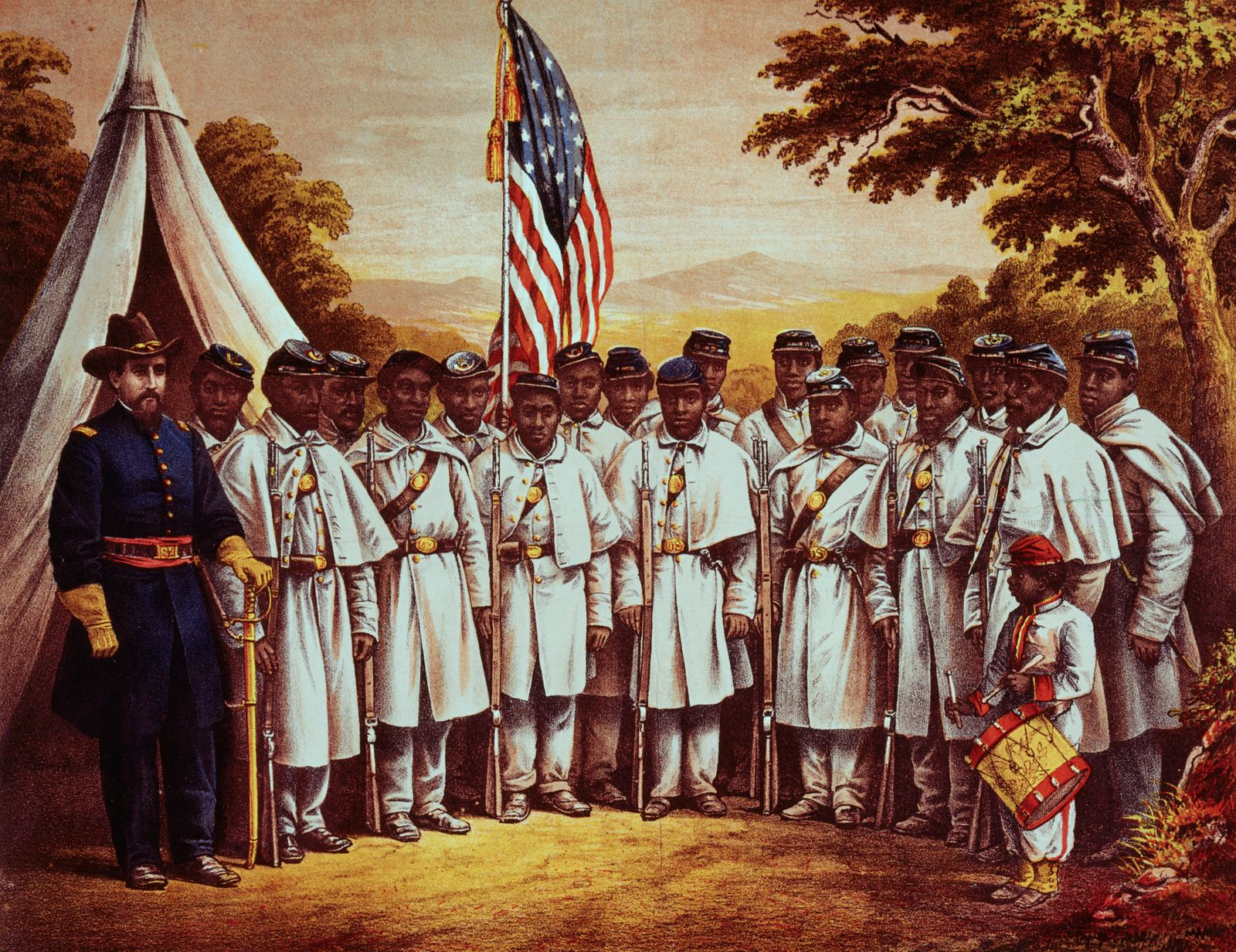 Illustration of Early African American Regiment Posing at Camp