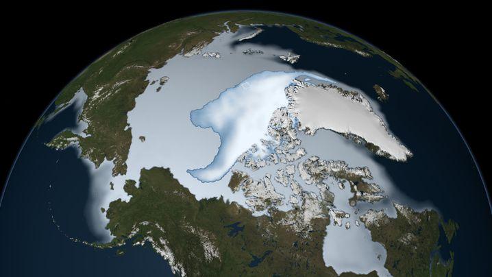 Das dickste Eis der Arktis (helles Weiß-Blau, es bedeckte einst eine deutlich größere Fläche) schrumpft Studien zufolge um gut zehn Prozent pro Jahrzehnt seit Ende der Siebzigerjahre.