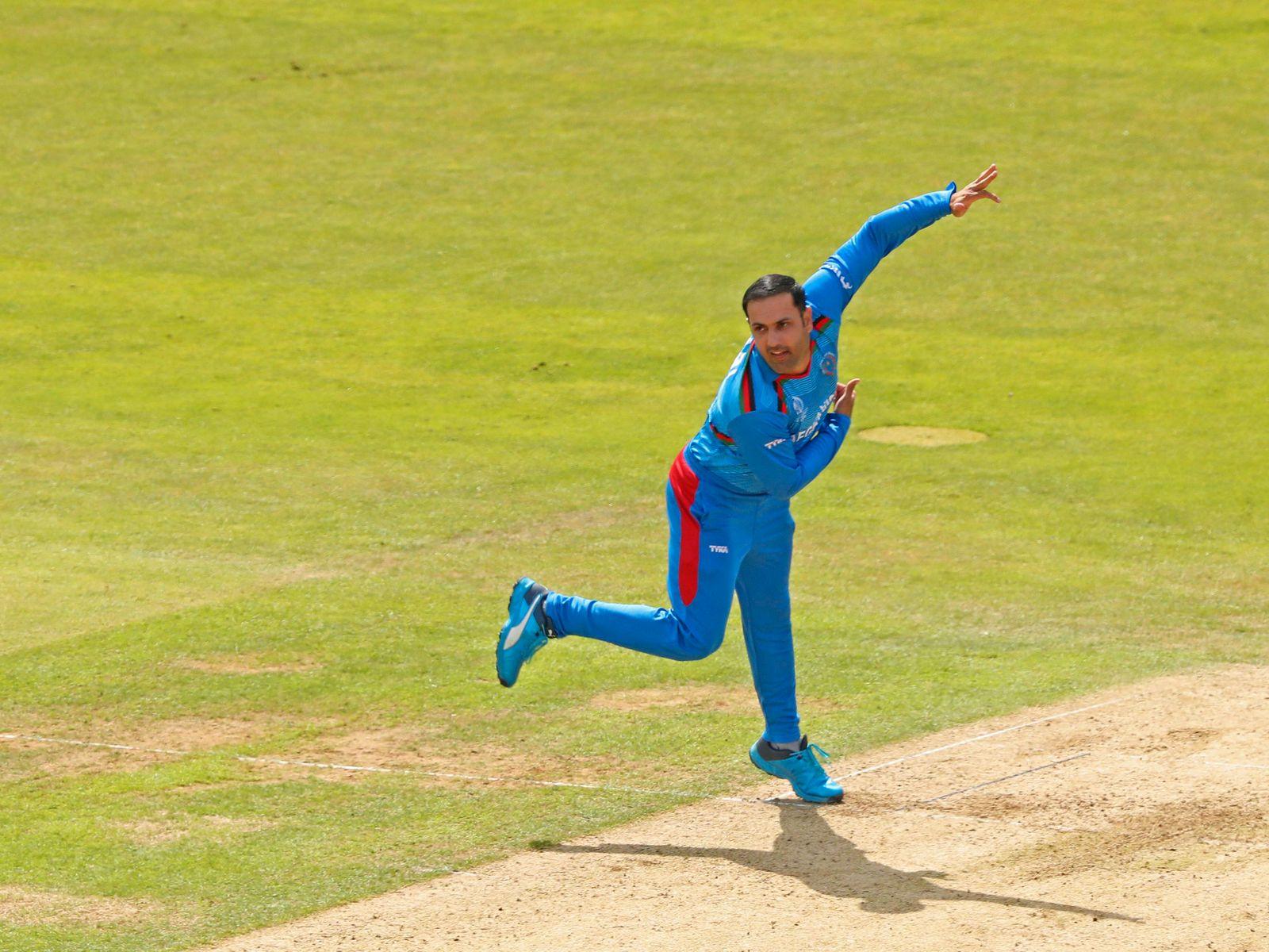 LEEDS, ENGLAND. 04 JULY 2019: Mohammad Nabi of Afghanistan bowling during the Afghanistan v West Ind