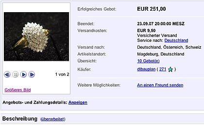 Versteigerter Ring: Bei dieser eBay-Auktion fing sich die Staatsanwaltschaft Magdeburg eine Abmahnung ein