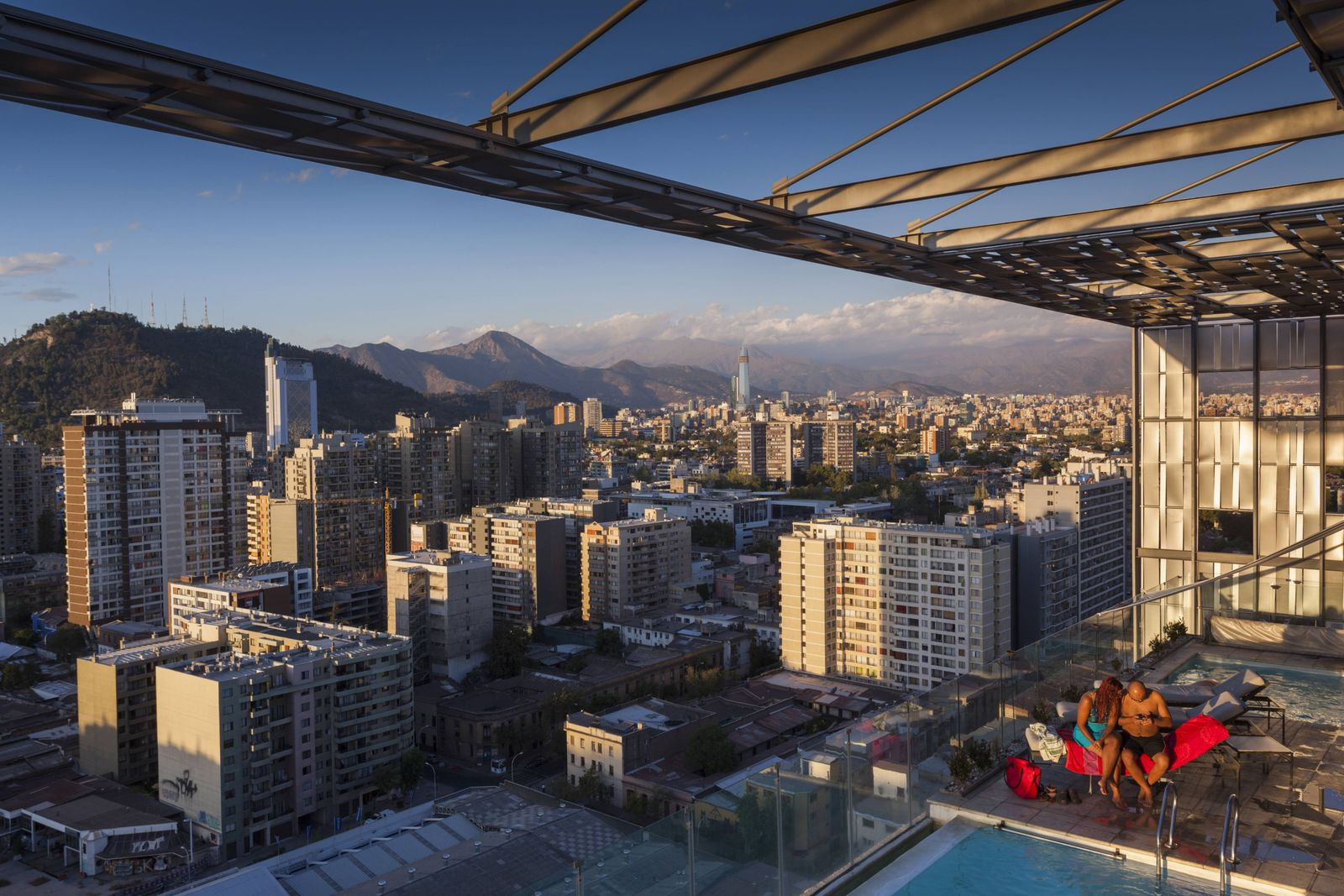 Chile Santiago elevated city view towards the Gran Torre Santiago tower from high rise building sw