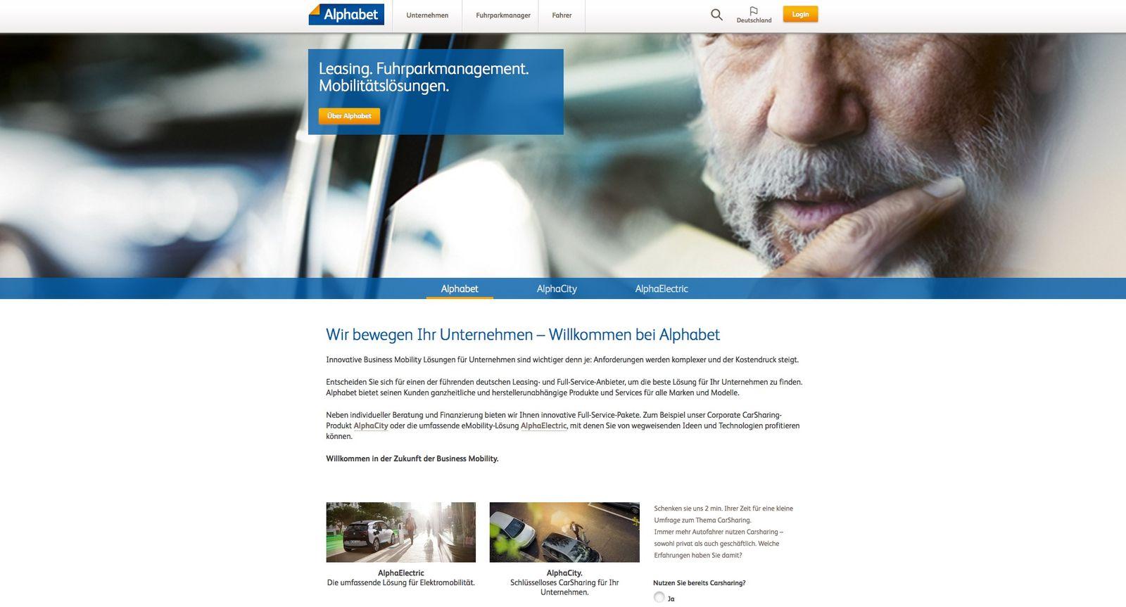 EINMALIGE VERWENDUNG alphabet.com/de-de / Screenshot
