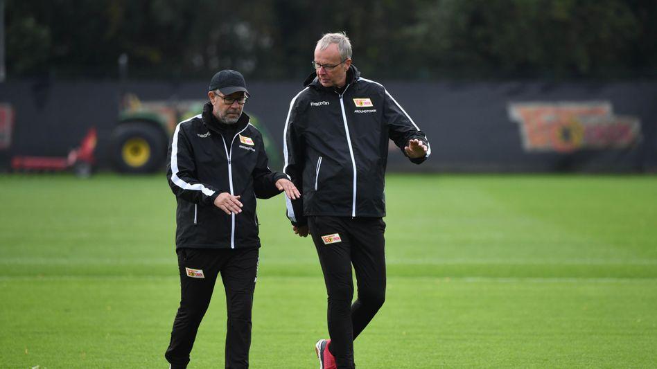 Christoph Biermann (rechts) mit Union-Trainer Urs Fischer