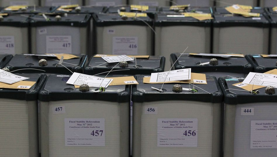 Sealed ballot boxes in Dublin during the vote count on Friday.