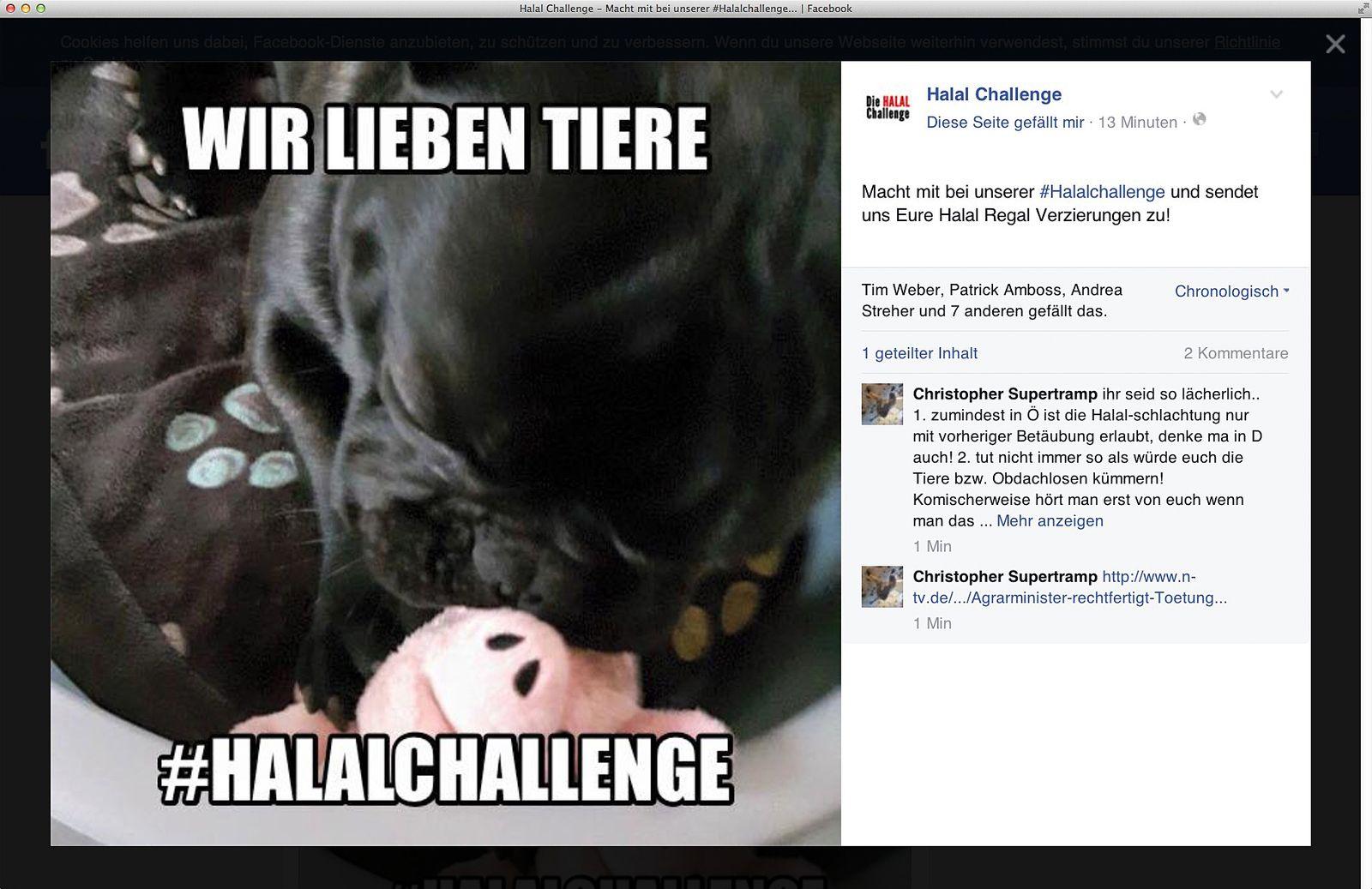 EINMALIGE VERWENDUNG NUR ALS ZITAT Screenshot/ Facebook/ Halalchallenge
